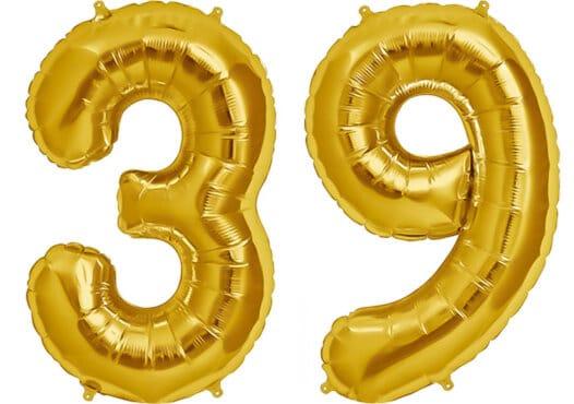 Luftballon Zahl 39 Zahlenballon gold (86 cm)