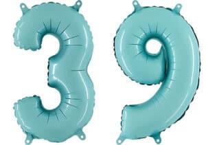 Luftballon Zahl 39 Zahlenballon pastell-blau (100 cm)