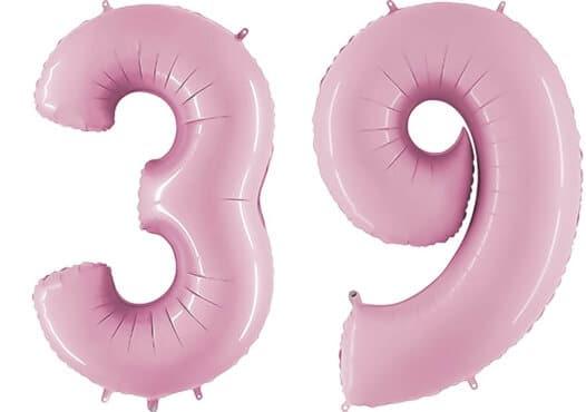 Luftballon Zahl 39 Zahlenballon pastell-pink (100 cm)
