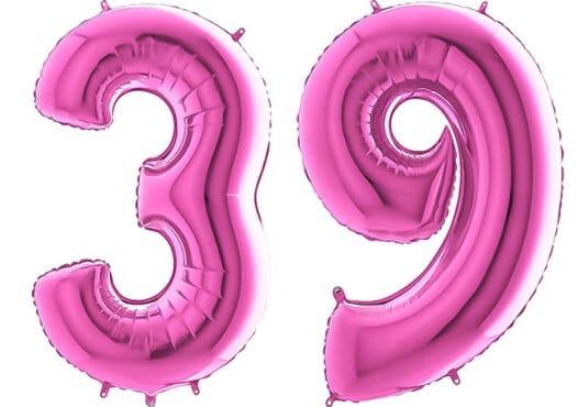Luftballon Zahl 39 Zahlenballon pink (66 cm)