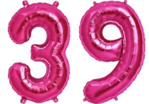 Luftballon Zahl 39 Zahlenballon pink (86 cm)