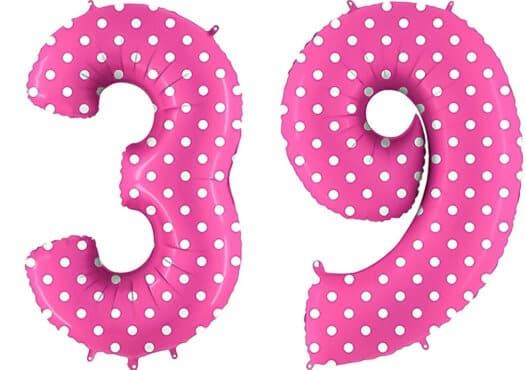 Luftballon Zahl 39 Zahlenballon pink mit weißen Punkten (100 cm)