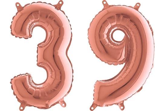 Luftballon Zahl 39 Zahlenballon rosegold (66 cm)