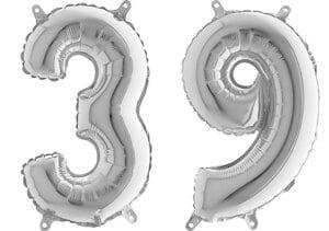 Luftballon Zahl 39 Zahlenballon silber (66 cm)