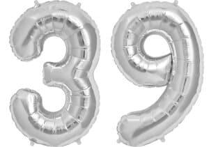 Luftballon Zahl 39 Zahlenballon silber (86 cm)
