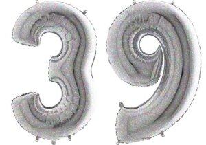 Luftballon Zahl 39 Zahlenballon silber-holographic (100 cm)