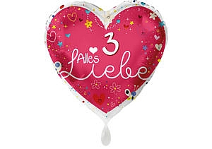 Herz Luftballon Alles Liebe Zahl 3 rot (38 cm)