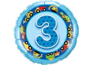 Geburtstagsluftballon mit Kindermotiven und Zahl 3 blau (38 cm)