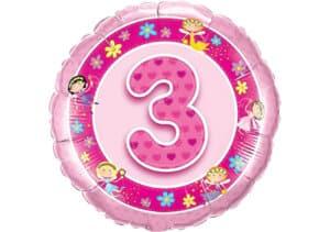 Geburtstagsluftballon mit Kindermotiven und Zahl 3 pink (38 cm)