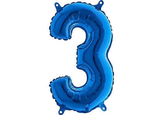 Luftballon Zahl 3 Zahlenballon blau (66 cm)