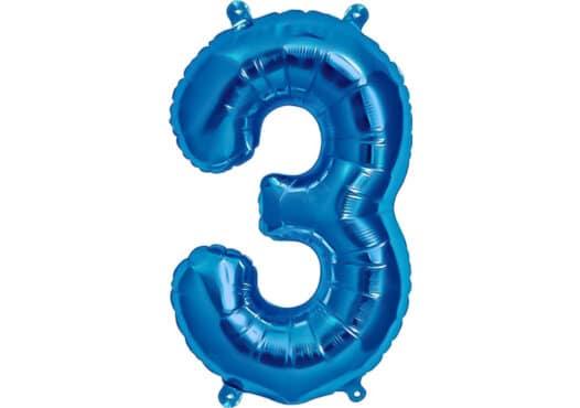 Luftballon Zahl 3 Zahlenballon blau (86 cm)