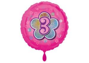 Runder Luftballon mit Blume und Zahl 3 pink (38 cm)