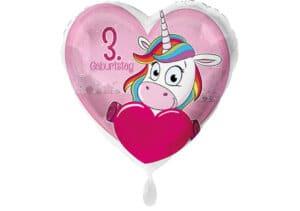 Einhorn-Luftballon mit Herz und Zahl 3 pink (38 cm)