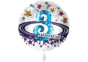 Runder Luftballon mit Glitzersternen und Zahl 3 in weiß (38 cm)