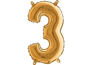 Luftballon Zahl 3 Zahlenballon gold (66 cm)