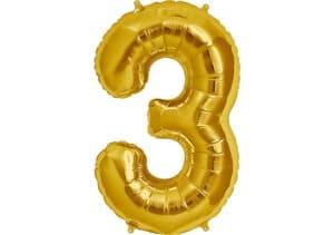 Luftballon Zahl 3 Zahlenballon gold (86 cm)