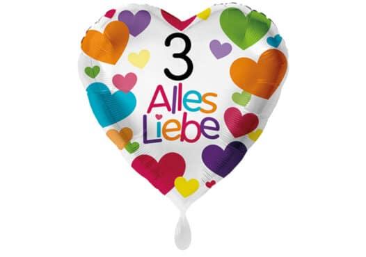 Herzluftballon mit kleinen Herzen Alles Liebe Zahl 3 weiß (38 cm)