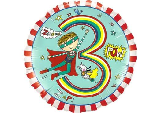 Bunter runder Luftballon mit Superheld und Zahl 3 bunt (38 cm)