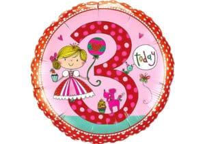 Runder Luftballon mit Prinzessin Geburtagszahl 3 pink (38 cm)