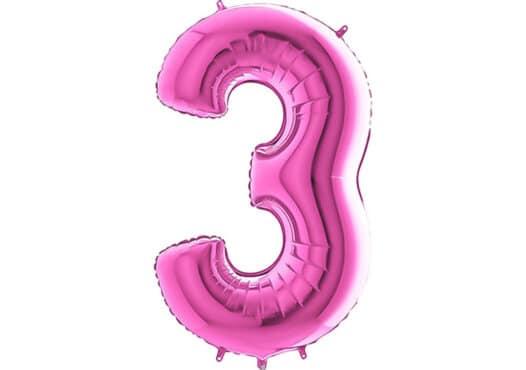 Luftballon Zahl 3 Zahlenballon pink (66 cm)