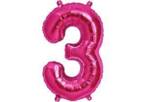 Luftballon Zahl 3 Zahlenballon pink (86 cm)