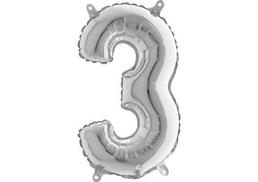 Luftballon Zahl 3 Zahlenballon silber (66 cm)
