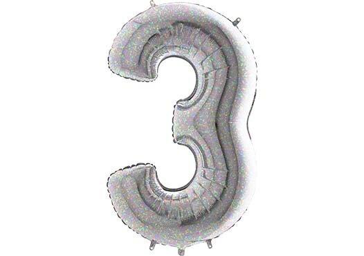 Luftballon Zahl 3 Zahlenballon silber-holographic (100 cm)