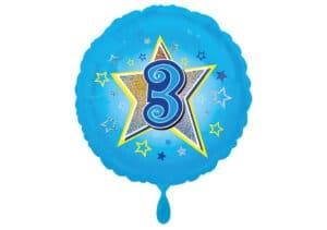 Runder Luftballon mit Stern und Zahl 3 blau (38 cm)