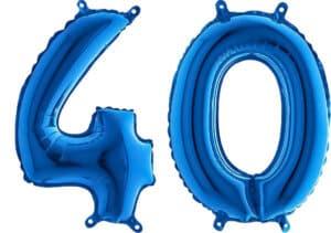 Luftballon Zahl 40 Zahlenballon blau (66 cm)