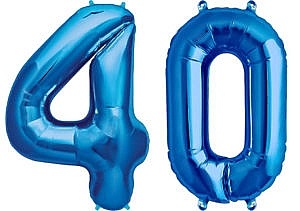 Luftballon Zahl 40 Zahlenballon blau (86 cm)