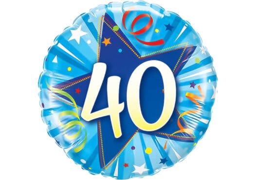 Runder Luftballon mit Stern und Zahl 40 blau (38 cm)