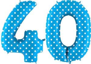 Luftballon Zahl 40 Zahlenballon blau mit weißen Punkten (100 cm)