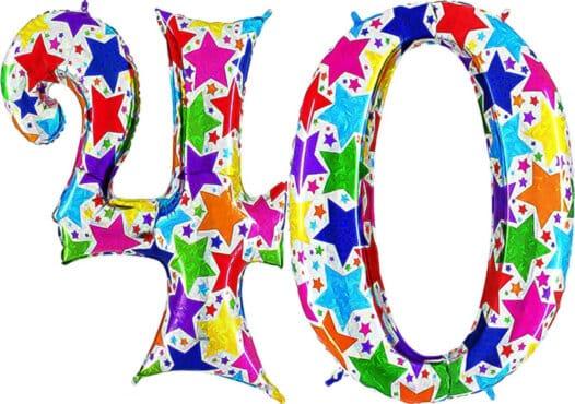 Luftballon Zahl 40 Zahlenballon silber mit bunten Sternen (100 cm)