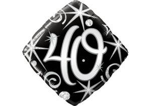 Eleganter Diamant-Luftballon mit Zahl 40 schwarz (38 cm)