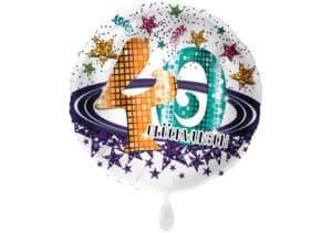 Runder Luftballon mit Glitzersternen und Zahl 40 in weiß (38 cm)