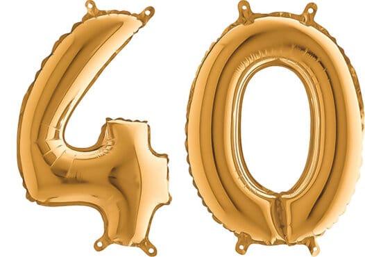 Luftballon Zahl 40 Zahlenballon gold (66 cm)