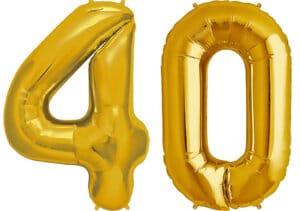 Luftballon Zahl 40 Zahlenballon gold (86 cm)