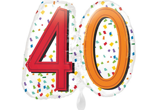 Luftballon Geburtstagszahl Zahl 40 bunt (38 cm)