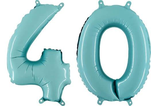 Luftballon Zahl 40 Zahlenballon pastell-blau (100 cm)