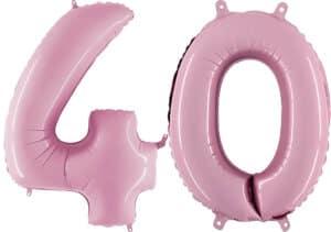 Luftballon Zahl 40 Zahlenballon pastell-pink (100 cm)