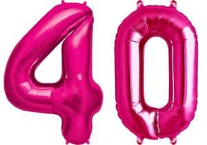 Luftballon Zahl 40 Zahlenballon pink (86 cm)