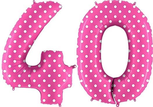 Luftballon Zahl 40 Zahlenballon pink mit weißen Punkten (100 cm)