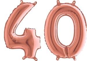Luftballon Zahl 40 Zahlenballon rosegold (66 cm)