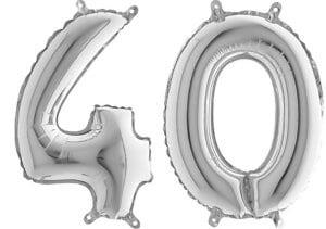Luftballon Zahl 40 Zahlenballon silber (66 cm)