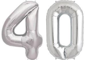 Luftballon Zahl 40 Zahlenballon silber (86 cm)