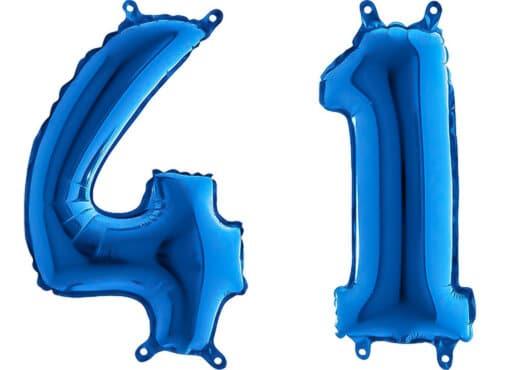 Luftballon Zahl 41 Zahlenballon blau (66 cm)
