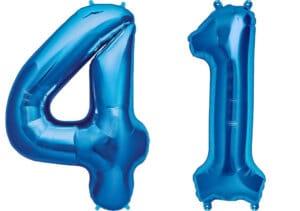 Luftballon Zahl 41 Zahlenballon blau (86 cm)