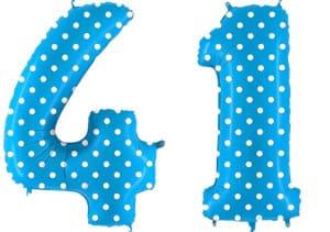 Luftballon Zahl 41 Zahlenballon blau mit weißen Punkten (100 cm)