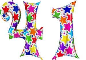 Luftballon Zahl 41 Zahlenballon silber mit bunten Sternen (100 cm)