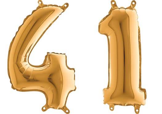Luftballon Zahl 41 Zahlenballon gold (66 cm)